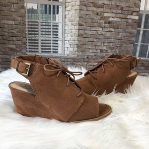 SO Podcast Cognac Suede Wedge Sandal